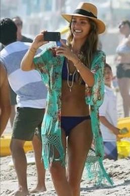 bikini+caftan+sombrero