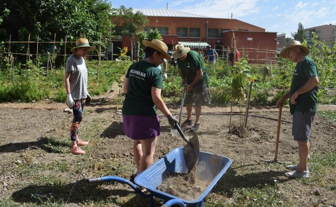 Voluntarios en el huerto ecológico de Humana en Leganés
